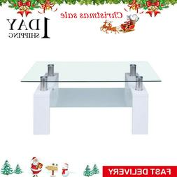 Coffee Table Glass Modern Shelf Wood Living Rectangular Room