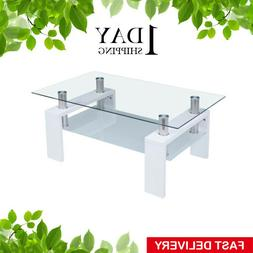 Coffee Table Glass Modern Shelf Wood Living Room Furniture R