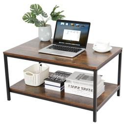 Coffee Table Industrial Vintage Cocktail Table with Storage