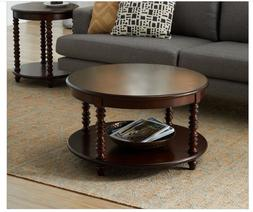Coffee Table Living Room Round Storage 2 Tier Accent Cocktai