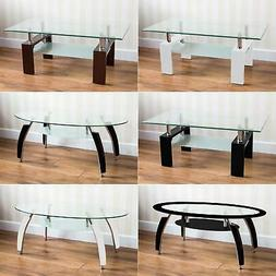 Coffee Table Modern Rectangle Oval Glass & Chrome Lower Shel