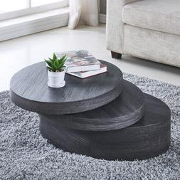 Coffee Table Modern Rotating Living Room Black White Square