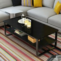 Coffee Table Rectangle Cocktail Side End w/ Storage Shelf Li
