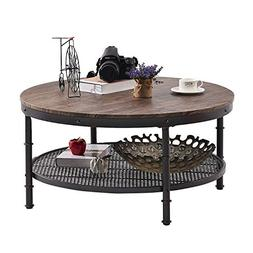 GreenForest – Coffee Table Round Wooden Design Metal Legs