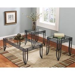 Coffee End Table Set Glass Metal 3 Piece Side Cocktail Moder