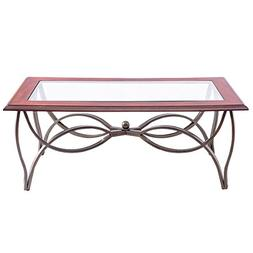 3 PCS Coffee Table and End Table Set Glass Metal Accent Occa