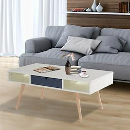 HOMCOM Coffee End Table Shelf Home Furniture Elevate Wood Le