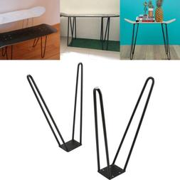 "Coffee Table Hairpin Legs 17"" Set of Two 10mm Solid Iron Bar"