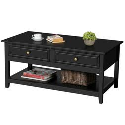 Coffee Table with 2 Drawers and Storage Shelf, Occasional Ta