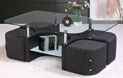 Best Quality Furniture Coffee Table with 4 Nested Stools BQF