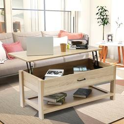 Coffee Table with Lift Top with Storage Shelf Living Room Mo