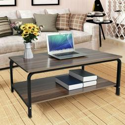 Coffee Table With Storage Rack Metal Support Laptop Desk for