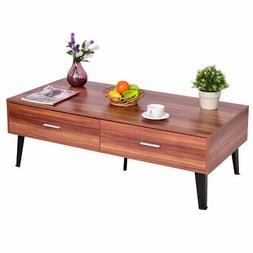 coffee table wood storage drawers w steel