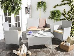 Safavieh Outdoor Collection Mojavi Grey and Beige 4 Piece Wi
