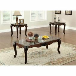Furniture of America Colvardo 3 Piece Coffee Table Set in Da