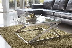 Coly Brushed Nickel Finish Square Cocktail Table COFFEE TABL