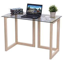 Tangkula Computer Desk Glass Top Computer Desk Modern Home O