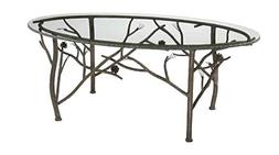 Stone County Ironworks Oval Coffee Table with Glass Top, Cop