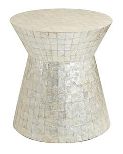 East at Main Rossville Off-White Wood and Capiz Round Accent
