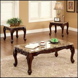 Dark Cherry 3 Piece Table Set Coffee End Tables Marble Accen