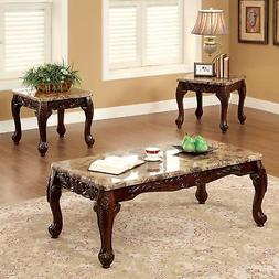 Dark Oak 3 Piece Modern Accent Wood Side Marble Coffee End T