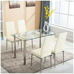 5 Piece Dining Table Set w/4 Chairs Glass Metal Kitchen Room