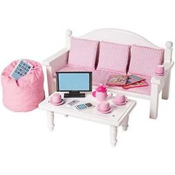 "Playtime by Eimmie 18"" Doll Furniture Sofa & Coffee Table w/"