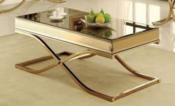 Furniture of America Dorelle Contemporary Glass Top Coffee T