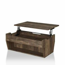 Furniture of America Edwards Rustic Coffee Table in Reclaime