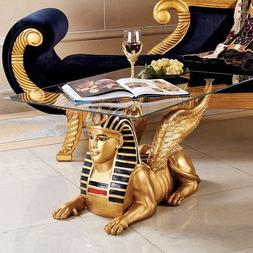 Design Toscano Egyptian Sphinx Glass Topped Sculptural Table