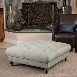 Elegant Fabric Upholstered Ottoman Coffee Table w/ Tufted To