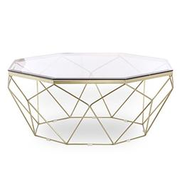 Design Tree Home Esme Geometric Coffee Table, Gold with Glas