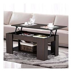 Espresso Modern Wood Lift Top Coffee / End Table with Storag