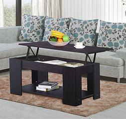 New Espresso, Modern Wood Lift Top Coffee / End Table with S