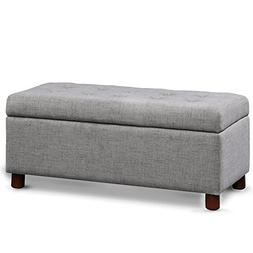Merax Fabric Tufted Top Storage Bench Rectangular Ottoman