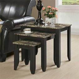 Faux Marble Nesting Tables Set of 3 Living Room Small Space
