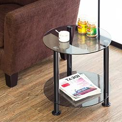 fitueys grey glass table accent