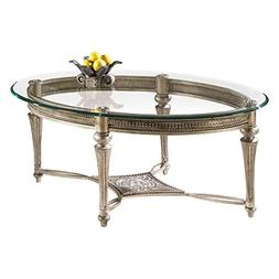 Magnussen Galloway Oval Iron and Glass Cocktail Table