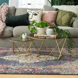 geometric glass nesting coffee tables
