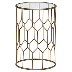 "Rivet Geometric Modern Glass and Metal End Table, 15.6"" W, G"