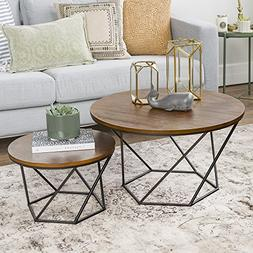 WE Furniture Geometric Wood Nesting Coffee Tables - Oak/Blac