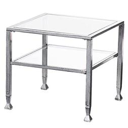 Southern Enterprises Glass Cocktail Table, Silver Frame Fini
