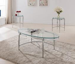 Kings Brand Furniture 3 Piece Glass Top Coffee Table & 2 End