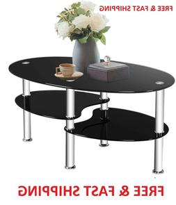 Glass Coffee Table, 2-Tier Modern Oval Smooth Glass Tea Tabl