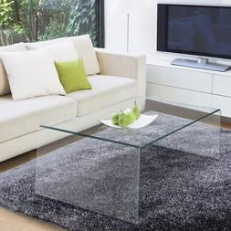 TANGKULA Glass Coffee Table Modern Home Office Furniture Cle