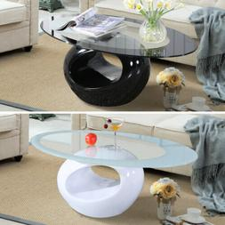 Glass Oval Coffee Table Contemporary Modern Design Living Ro