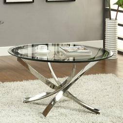 Coaster Furniture Glass Top Round Coffee Table