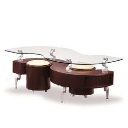 Glass Top Storage Coffee Table  and Ottomans in Mahogany Col