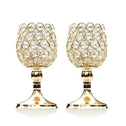 VINCIGANT 8 Inches Gold Crystal Candlesticks Set of 2 for Co
