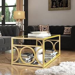 LYKE Home Goldtone Metal/Glass Contemporary Coffee Table wit